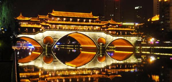 Brug by night in Chengdu