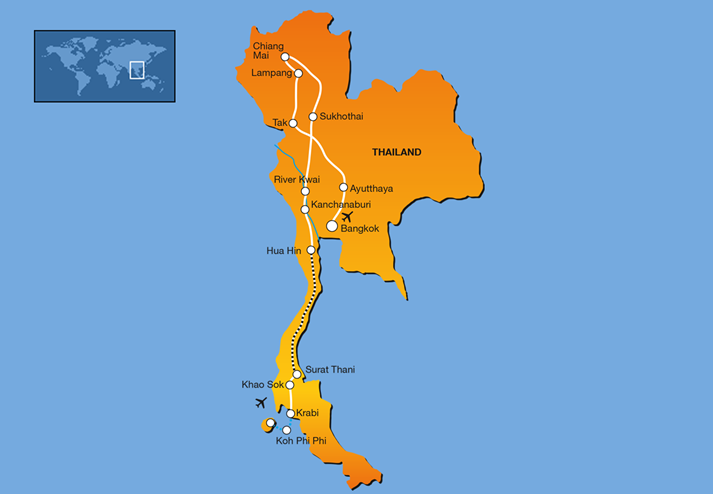 Routekaart 21-daagse single groepsreis Grand Tour Thailand