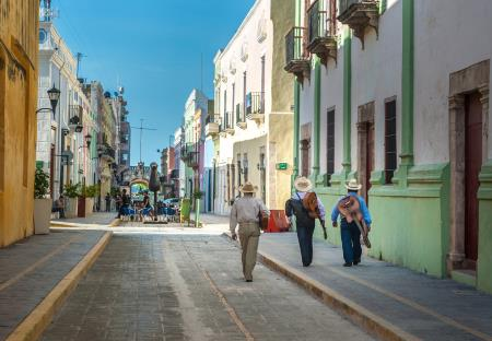 Straatbeeld in Campeche, Mexico