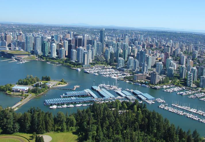 Downtown vancouver en de haven