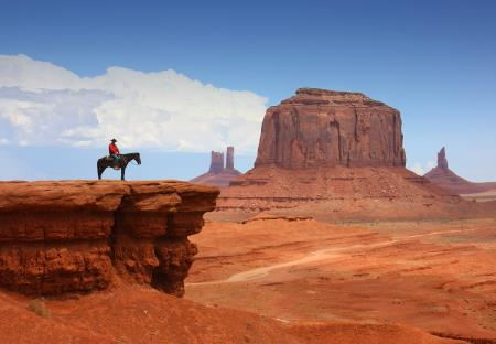 Cowboy bij Monument Valley